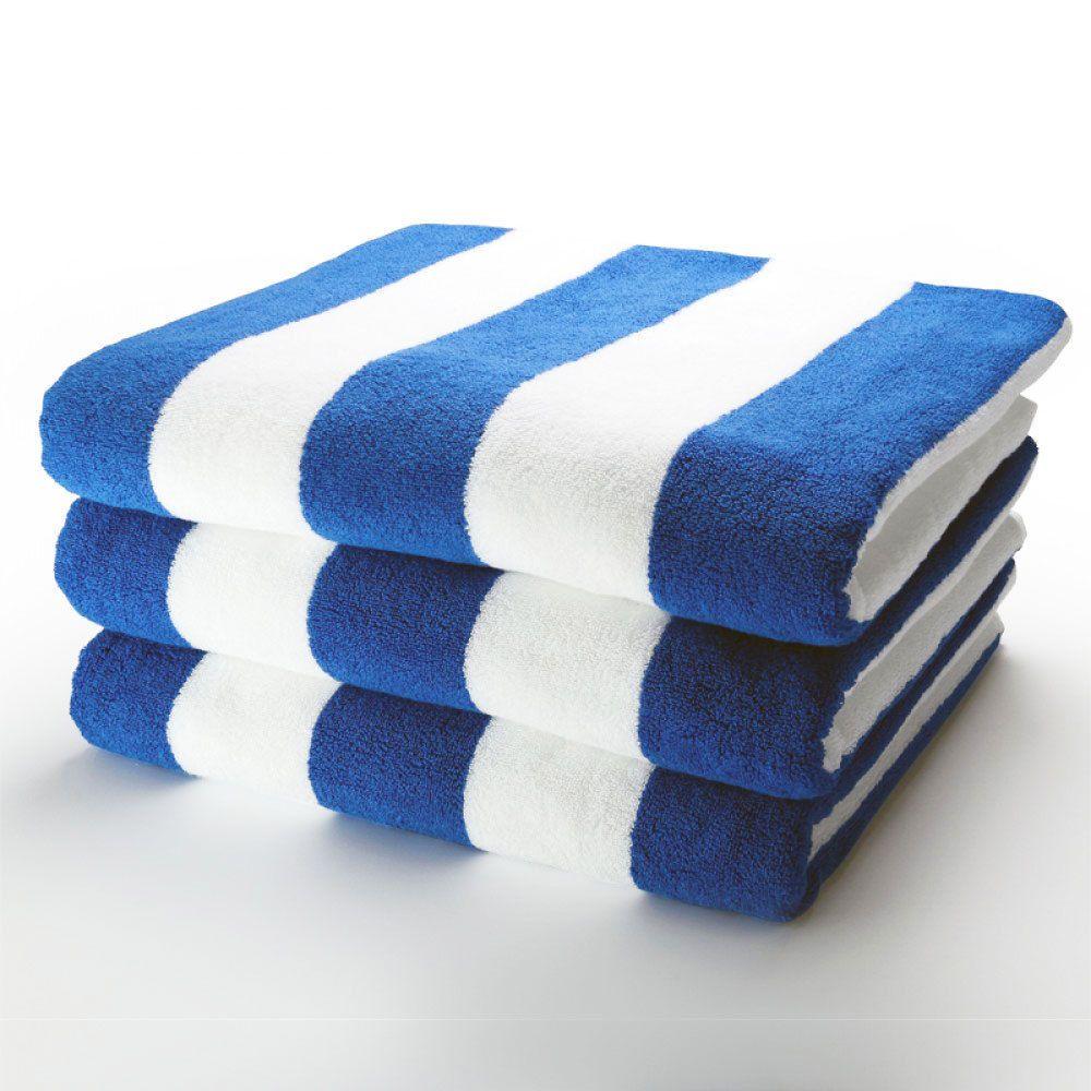 100 Cotton Beach Pool Towel Sets Blue And White Stripes Bath