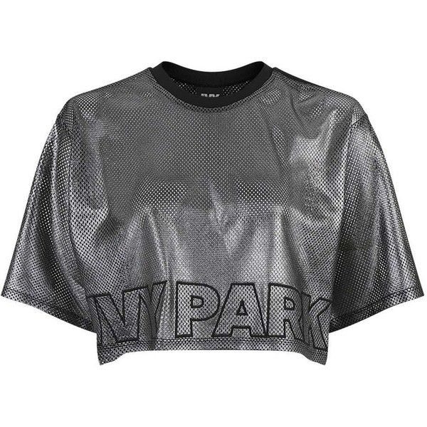 56804dfbba3 Metallic Airtex Boxy Tee by Ivy Park (603.585 IDR) ❤ liked on Polyvore  featuring tops, t-shirts, boxy crop tee, embroidered top, crop t shirt,  metallic t ...
