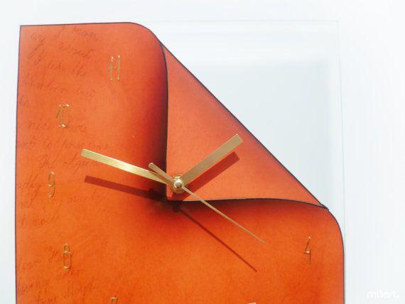 Orange Burnt Decor Modern Design Fashion Wall Clock Etsy Orange Wall Clocks Glass Printing Wall Clock