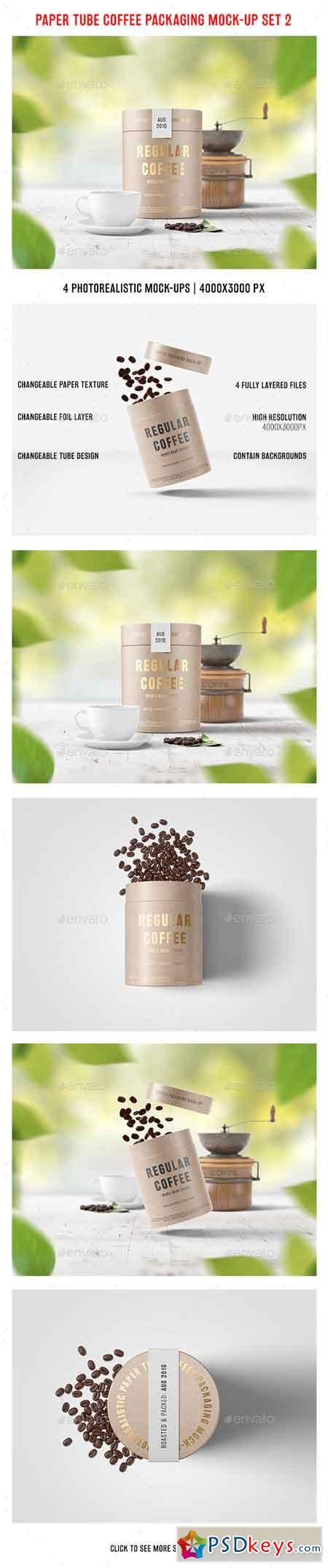 Paper Tube Coffee Packaging Mock-Up Set 2 17693579 | mockup