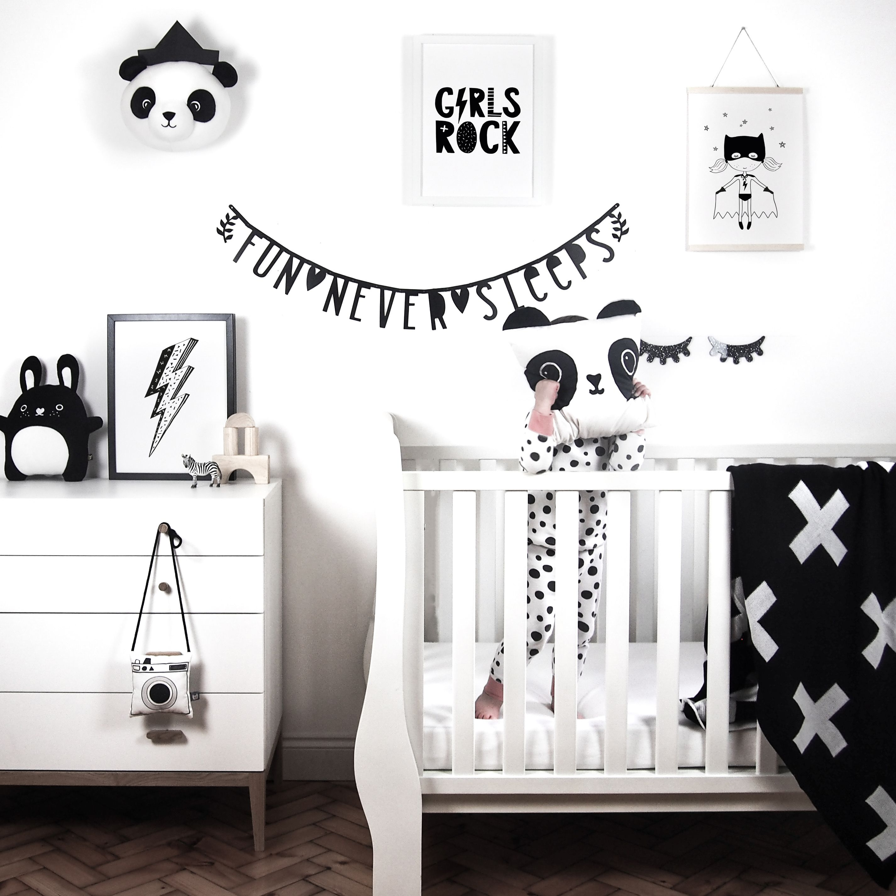 Monochrome Nursery Inspiration Children S Bedroom Interior Black And White Kids Prints Available On Little Print Uk Our Etsy