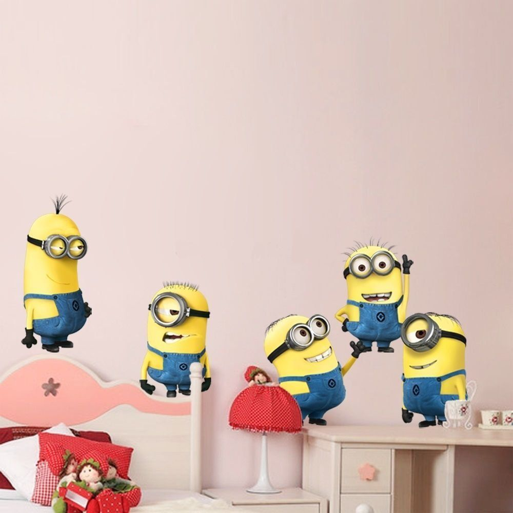 Minion Wall Decor 5 minions despicable me removable wall stickers decal home decor