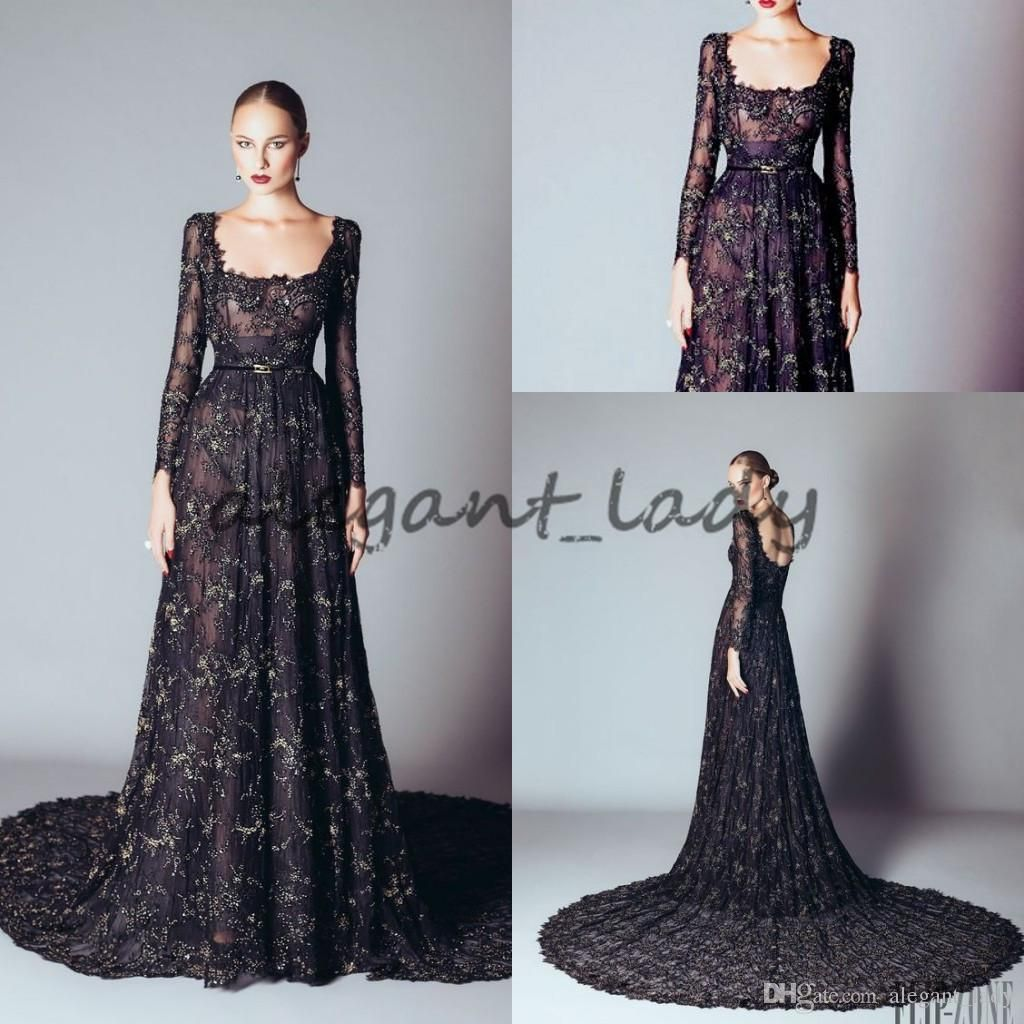 alfazairy long sleeve prom occasion dresses modest full lace