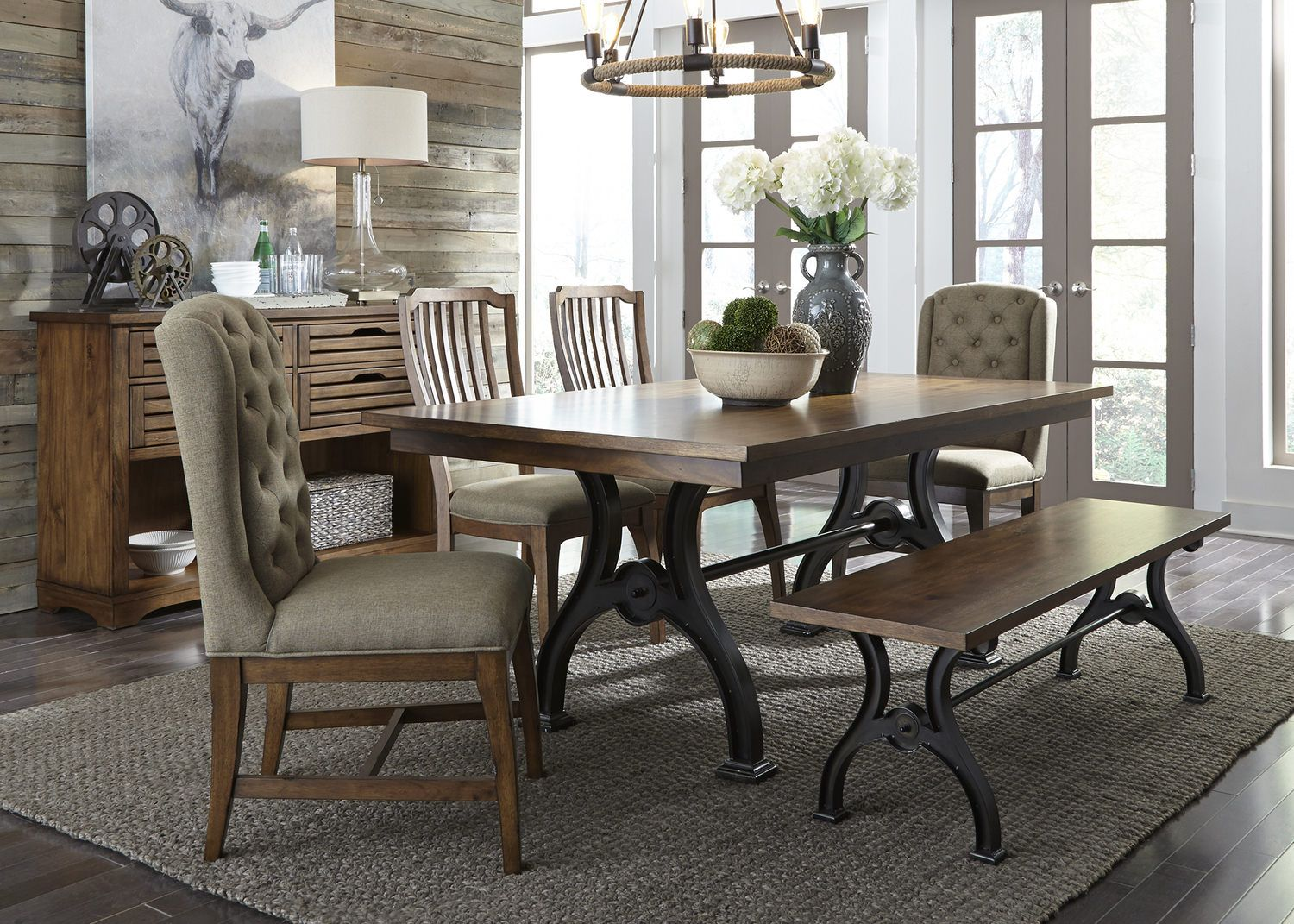 Arlington House Trestle Table With 2 Upholstered