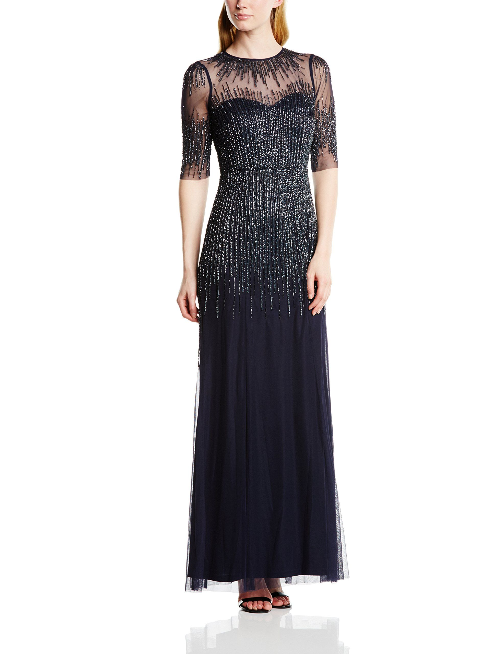 Adrianna papell women long beaded gwn with illusion nk sleeve