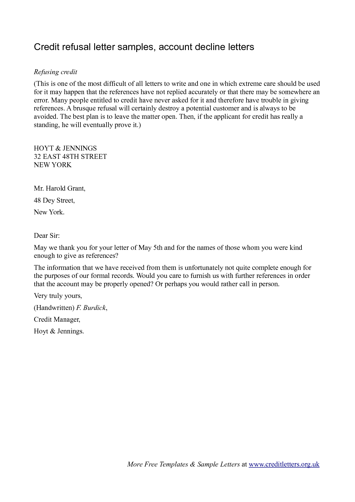 Job Decline Letter sample employment rejection letter to let an – Refusal Letter