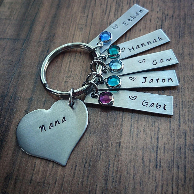 Hand stamped grandma keychain nana keychain mom