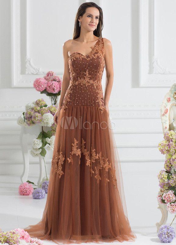 vestido de fiesta de tul de color marrón de línea a de cola larga
