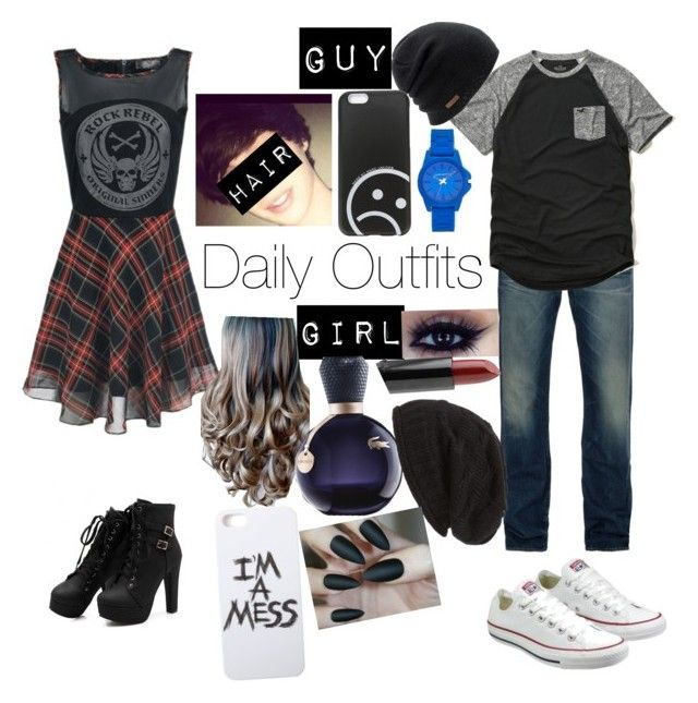 """Daily Outfits"" by blue-beat-2 ❤ liked on Polyvore featuring moda, Levi's, Hollister Co., Converse, Coal, Marc by Marc Jacobs, Vince Camuto, NYX, Lacoste e LAUREN MOSHI"