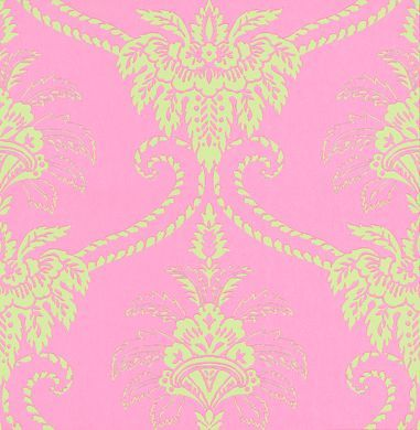 Damask Mint Pink Wallpaper By Anna French