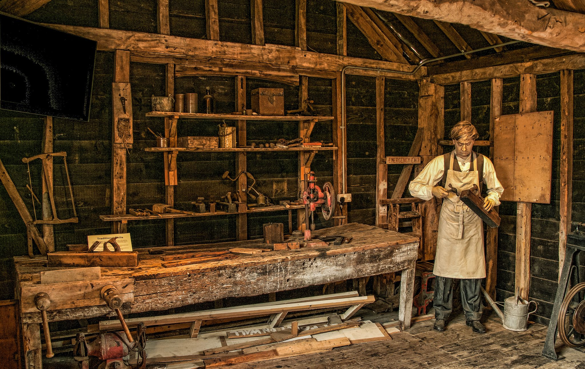 carpentry tools in the old workshop at whitchurch silk mill
