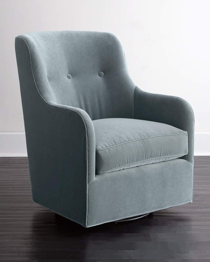 Cali st clair sky blue velvet swivel chair upholstered