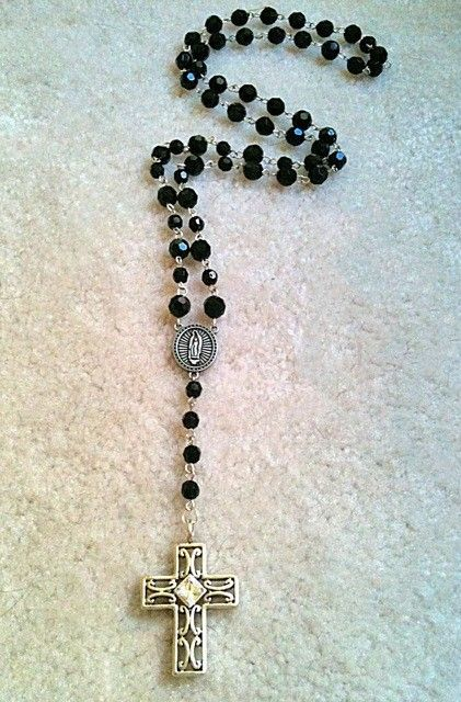 Rosary cross necklace from Etsy - RudeBitsJewelry