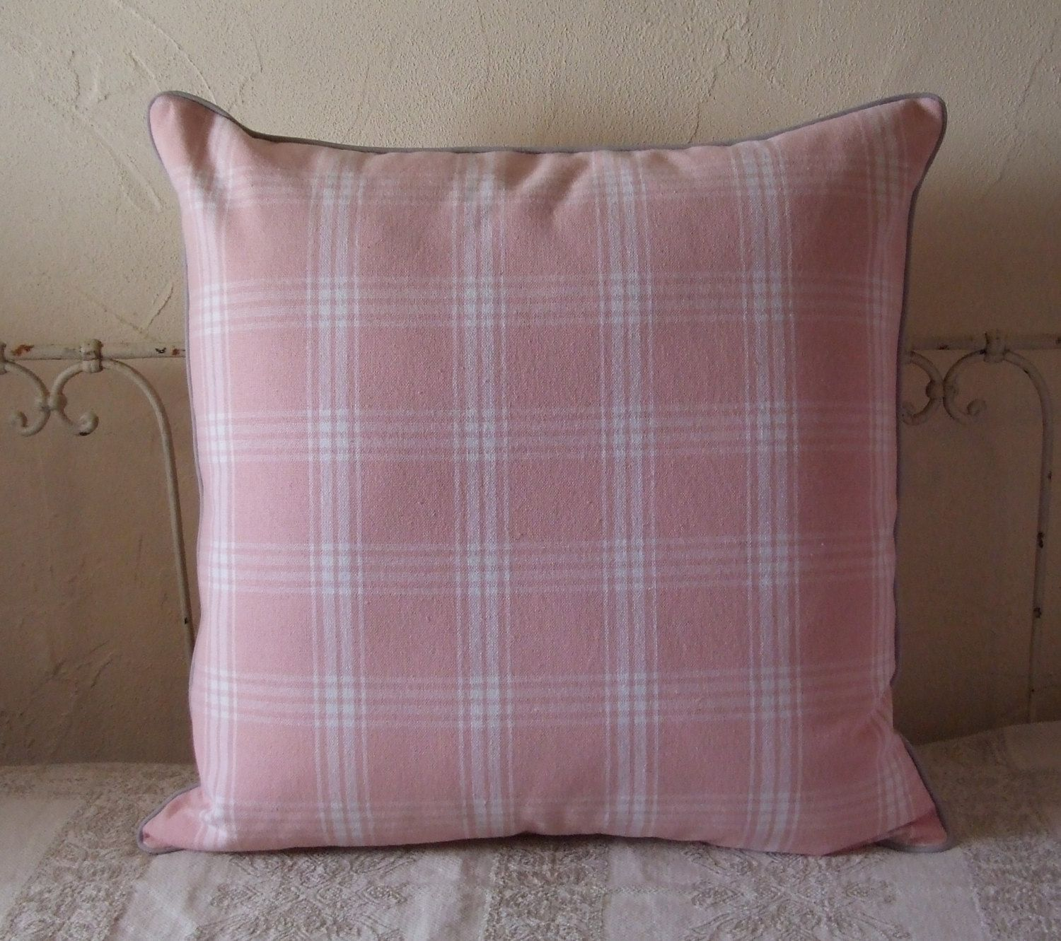Large pink checked cushion cover with handmade dove grey