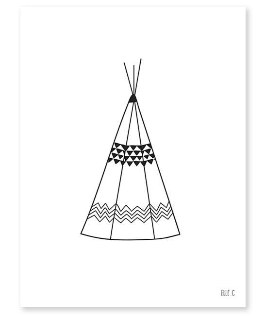 affiche noir et blanc chambre enfant teepee lilipinso salle de jeux enfant pinterest. Black Bedroom Furniture Sets. Home Design Ideas