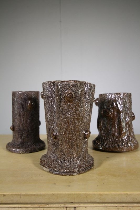 Three Antique Earthenware Grotto Vases Decorative