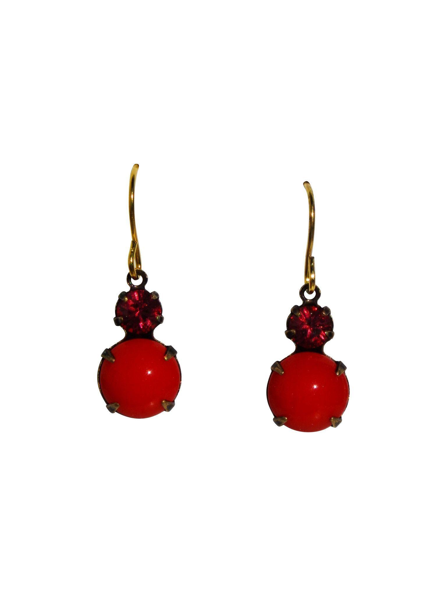 Cherry Pop Earrings - Vintage Rhinestone Glass Jewel
