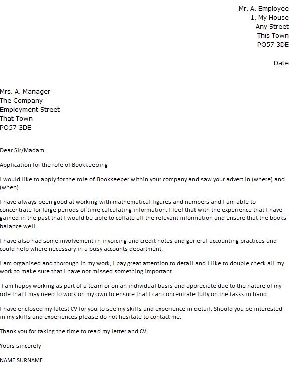 Cover Letter For Bookkeeper Resume Http Www Resumecareer Info