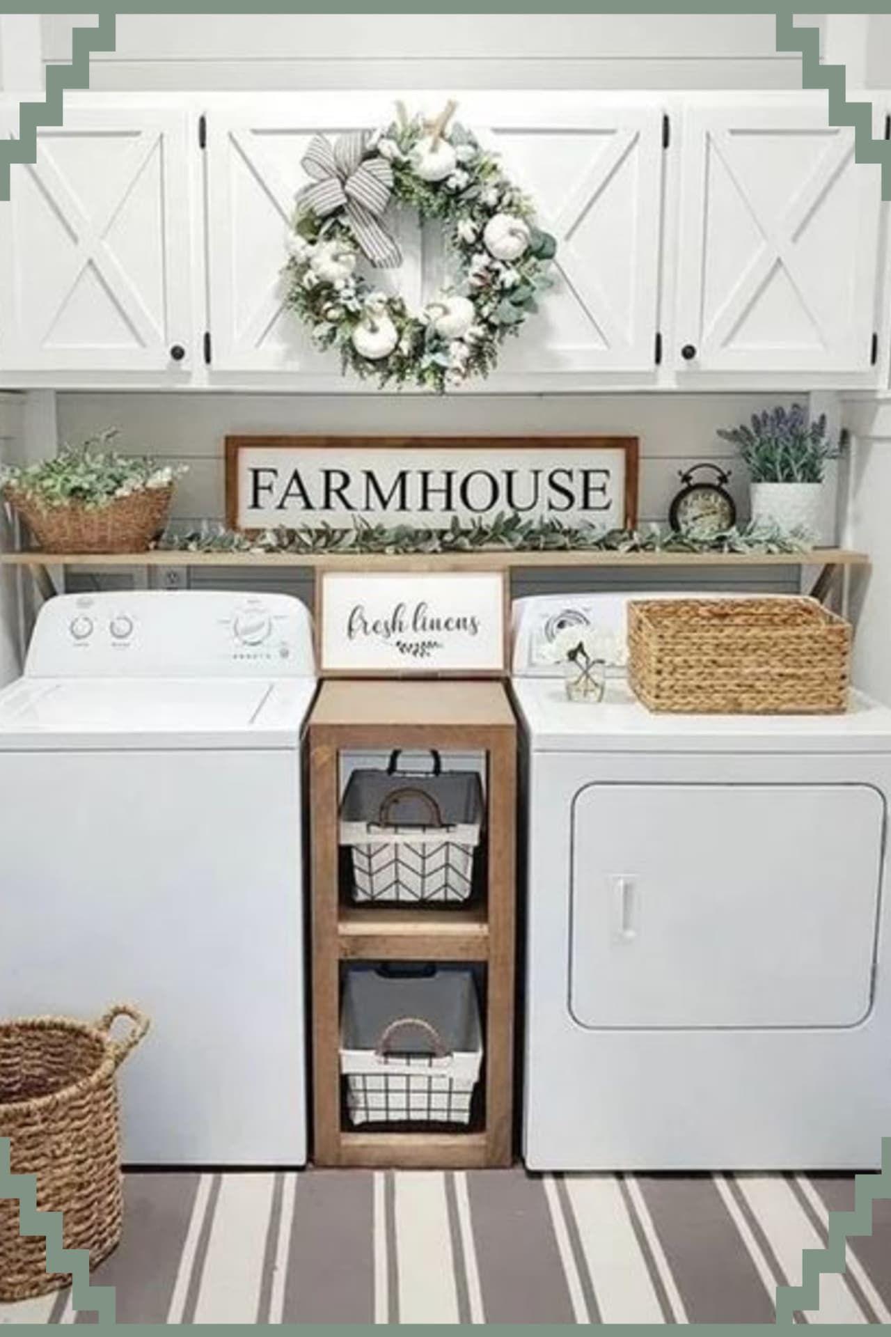 Farmhouse Style Small Laundry Room Ideas To Remodel Your Tiny Laundry Room in Rustic Farmhouse Style