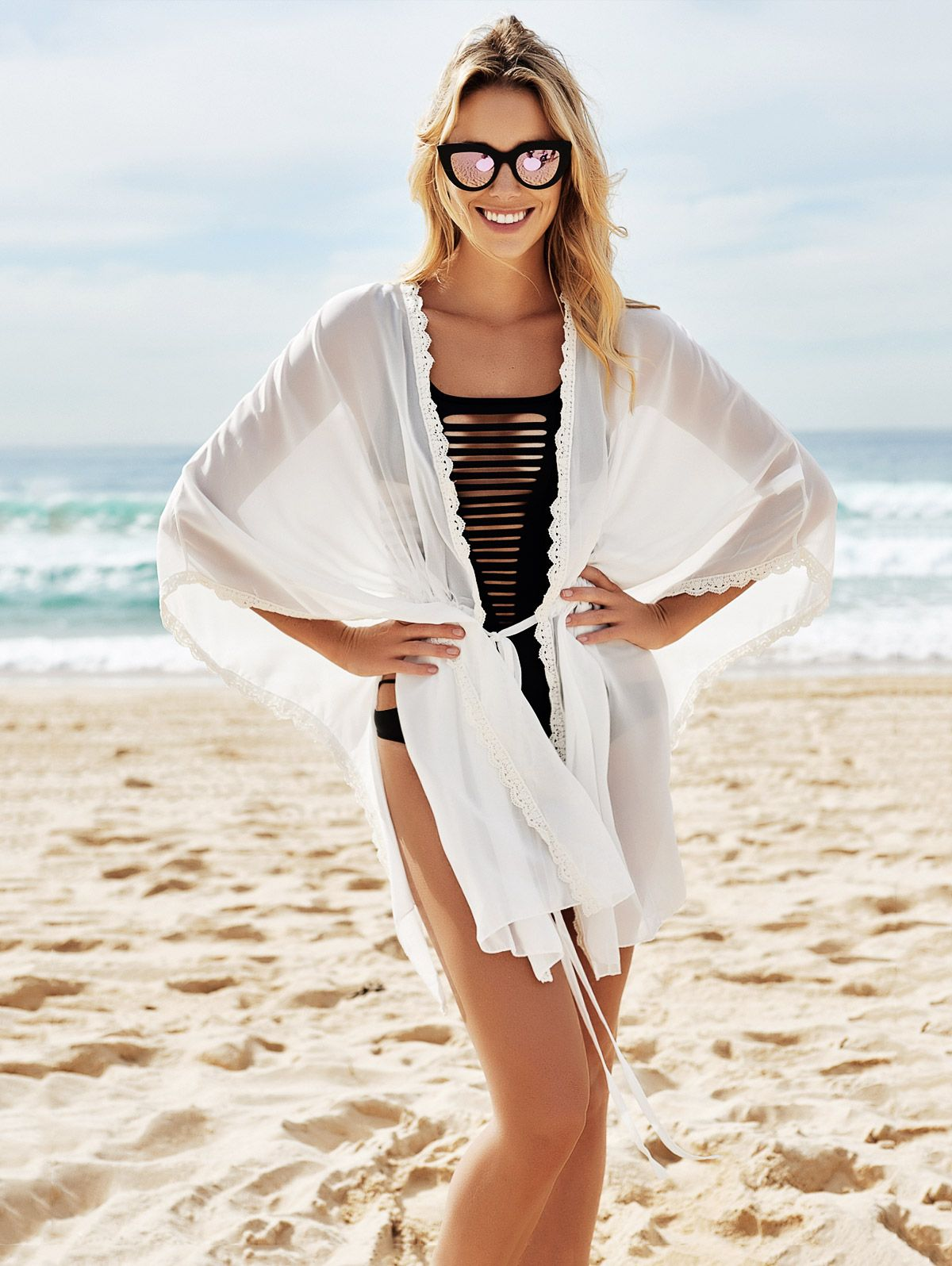 White Chiffon 3/4 Sleeves Cover Up
