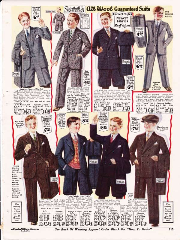 Mens clothing 1920 and 1930 home plan.