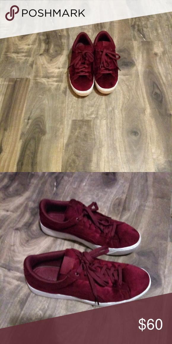 Puma Red Velvet Vikky Platform Size 8.5