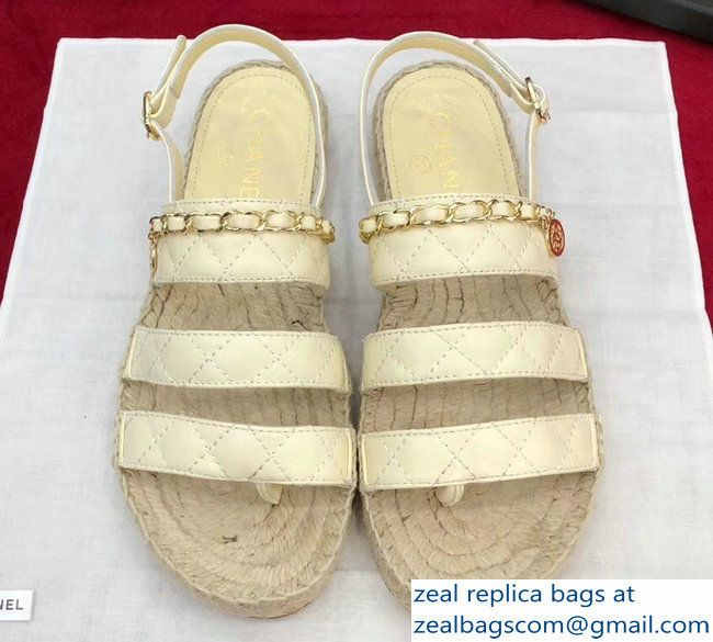 cbce9b70191 Chanel Lambskin Quilting Chain Espadrilles Sandals G33355 Beige 2018 ...
