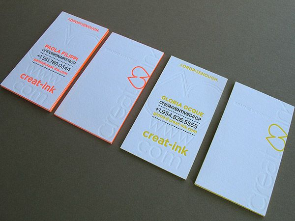 Neon Business Cards With Edge Painting Thomas Printers Neon Business Cards Business Card Branding Business Card Inspiration