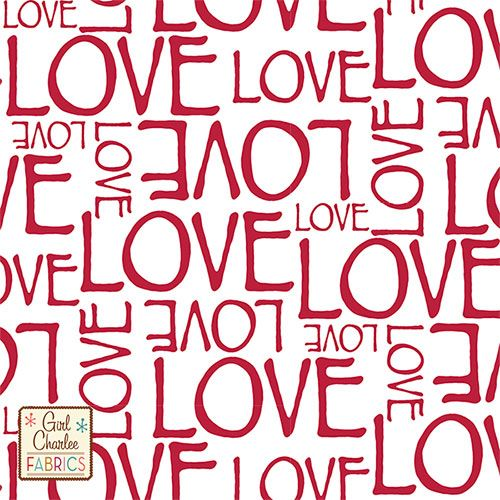 """Red LOVE on White Cotton Jersey Blend Knit Fabric - A Girl Charlee favorite is back!  Different size words of LOVE in our perfect red color on our white cotton blend jersey knit.  Fabric is soft, light to mid weight, with a nice stretch and soft hand.  Largest letters measure 2 1/2"""" for scale.  A great versatile fabric that is good for many different uses!  Made in Los Angeles!  ::  $6.60"""