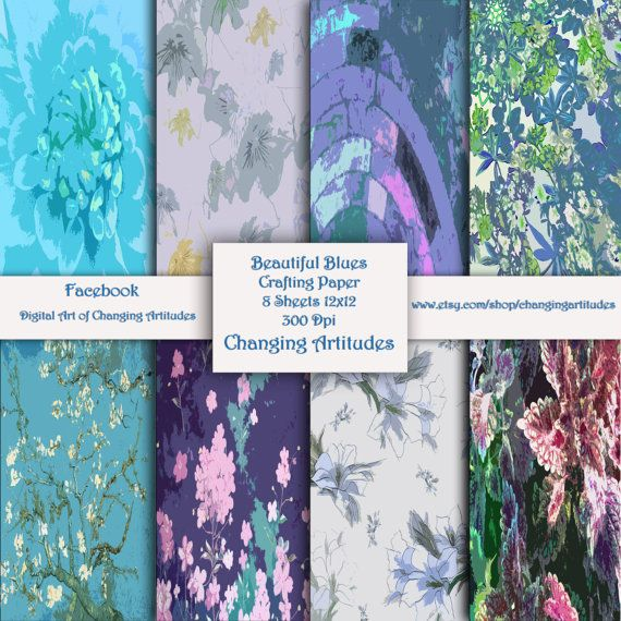 BLUES   Scrapbook and Craft paper set of 8 by ChangingArtitudes