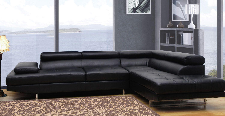 Global Furniture Usa 8136 Sectional Sofa Bonded Leather Black Usa Furniture Global Furniture Modern Couch Sectional