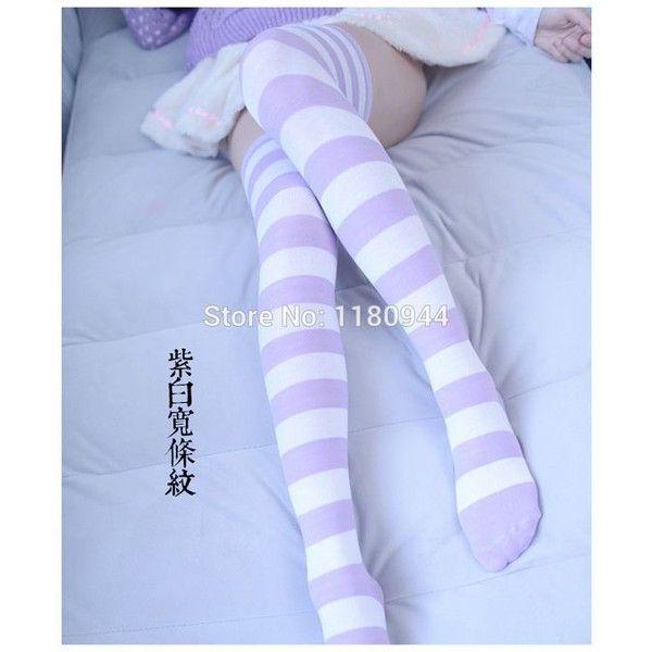 db69efc34e0b0 Thigh highs ❤ liked on Polyvore featuring intimates, hosiery, socks, purple  socks, thigh high hosiery, thigh high socks and purple thigh high socks