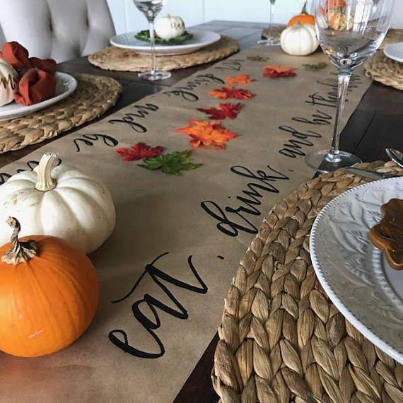 Calligraphy Thanksgiving Table Runner   Hand Lettered   Kraft Paper Table Runner