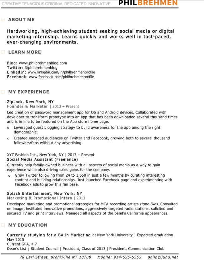 inbount marketing intern cv