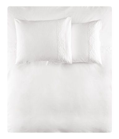 Cotton Duvet Cover Set With Lace Details Snap Fasteners At Foot End