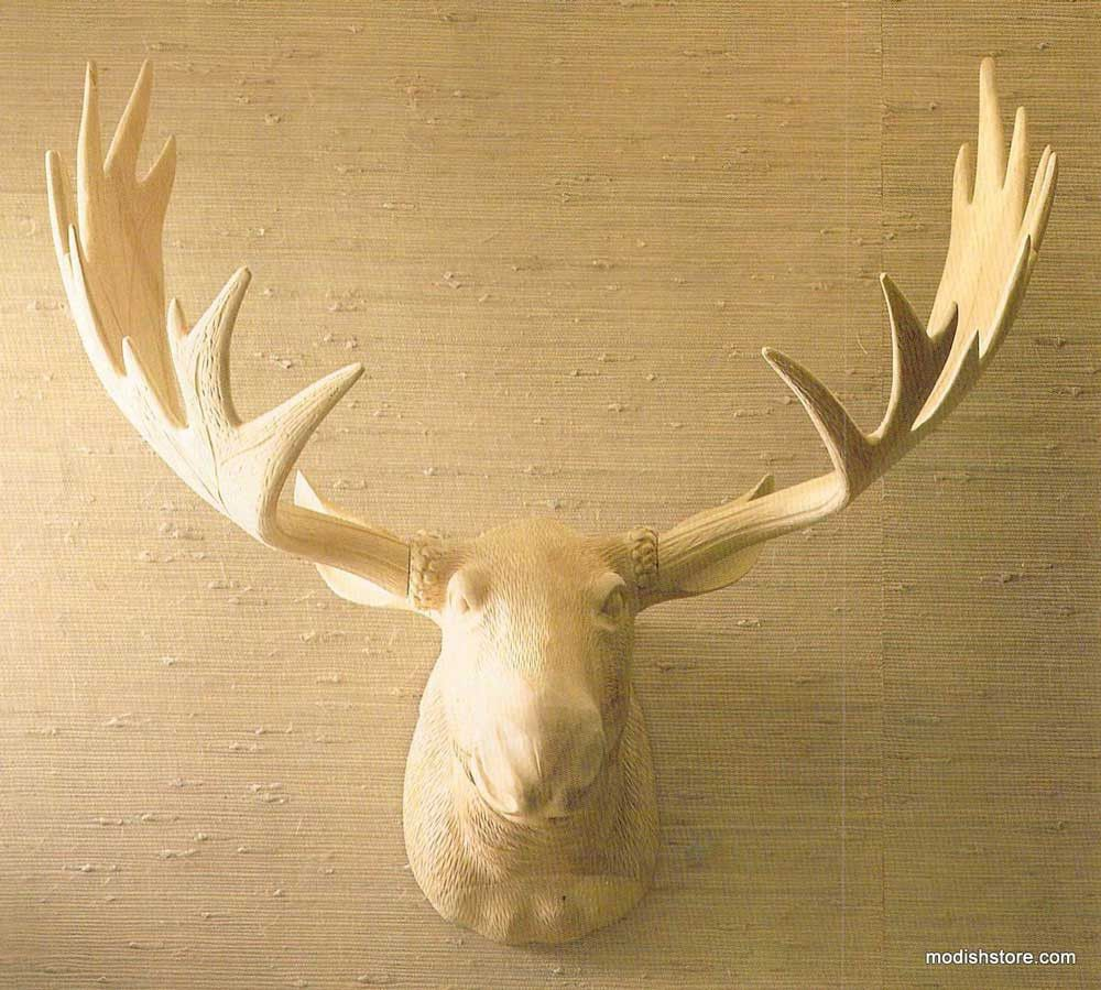 Our Carved Wood Moose Head is a stunning conversation piece, made ...