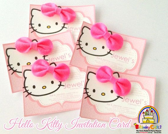 Hello kitty invitation card with bow on etsy 1600 birthday hello kitty invitation card with bow on etsy 1600 stopboris Images