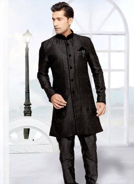 44e83f841dfe Black Designer wedding wear Indian mens sherwani in brocade ...