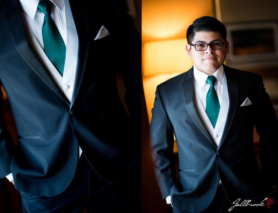 Groom wearing a green tie.The beautiful wedding of Danielle and Hector in Yuma, Arizona.