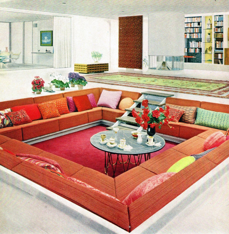 Conversation Pit 1960 Love It Lively Living Spaces Pinterest