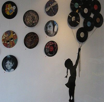 decora o e projetos decora o com disco de vinil fotos music decor ideas pinterest. Black Bedroom Furniture Sets. Home Design Ideas