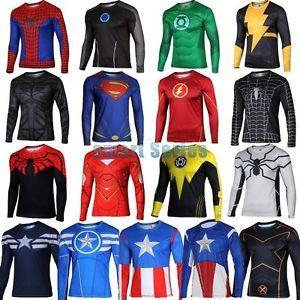 Mens-Superhero-Marvel-Cycling-Tee-T-Shirt-Long-Sleeve-Bicycle-Jersey-Top- Shirts 8d02ca35d