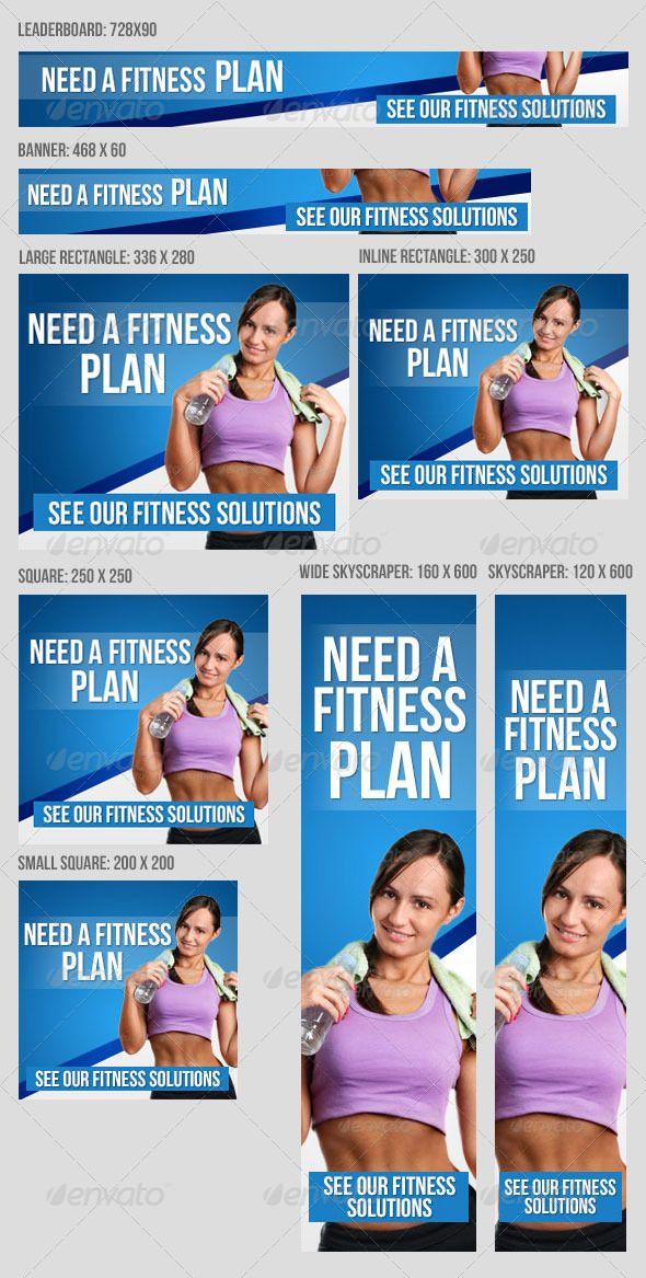 Fitness Banner Set V2 Web Banners Template PSD Pinterest - fitness plan template