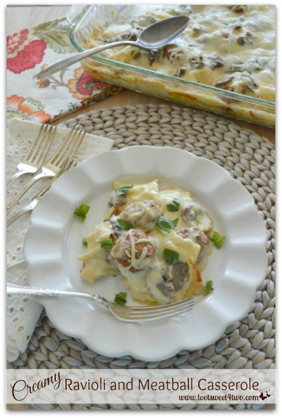 Creamy Ravioli and Meatball Casserole