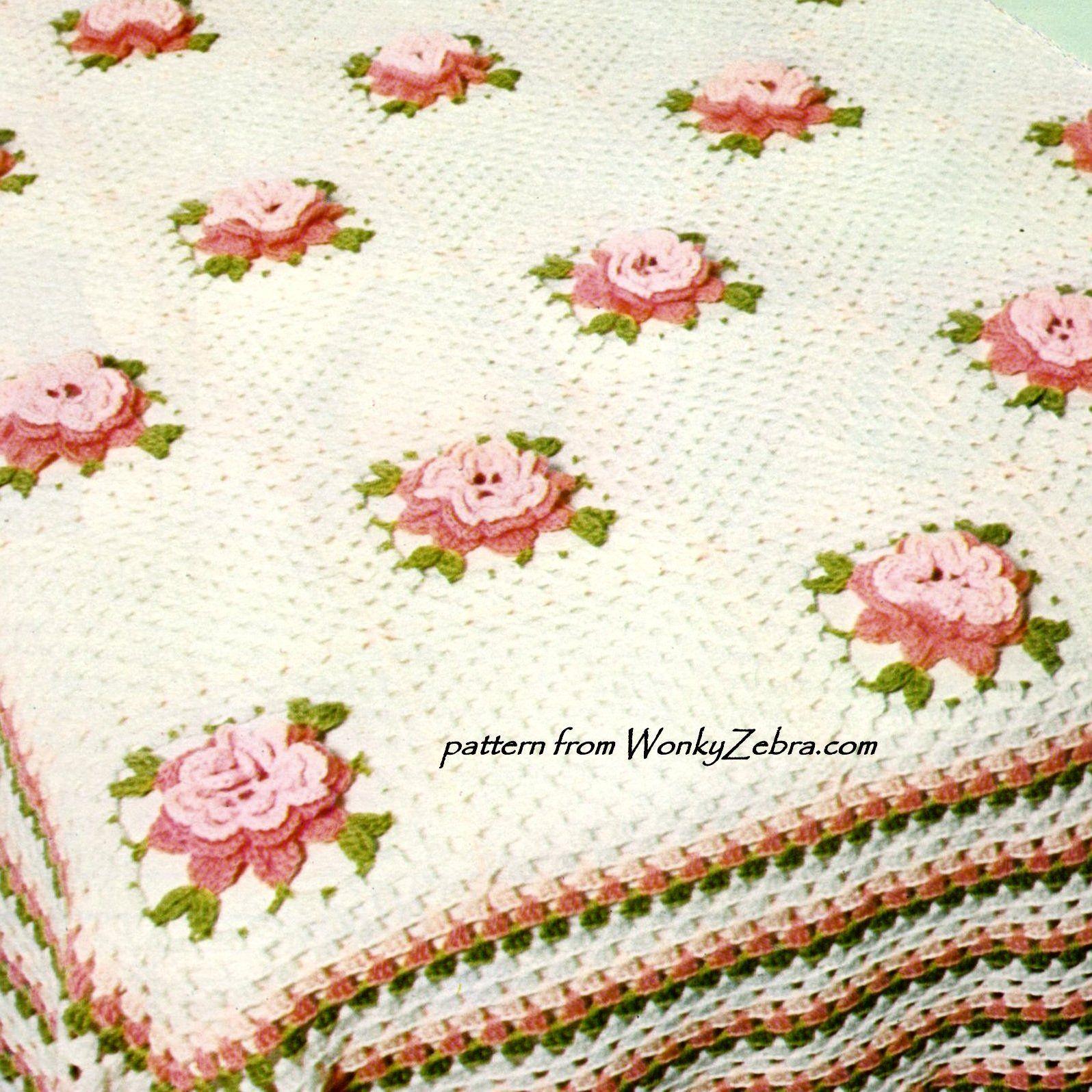 WZ299 pattern for a Rose Granny square motif bedspread. or blanket ...