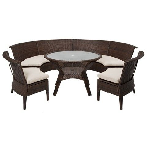 Genial Threshold™ Rolston 5 Piece Wicker Sectional Patio Dining Furniture Set