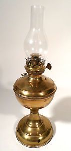 Vintage Russian Marked Otto Muller Brass Oil Lamp With Glass Chimney 17 Tall Oil Lamps Lamp Oils