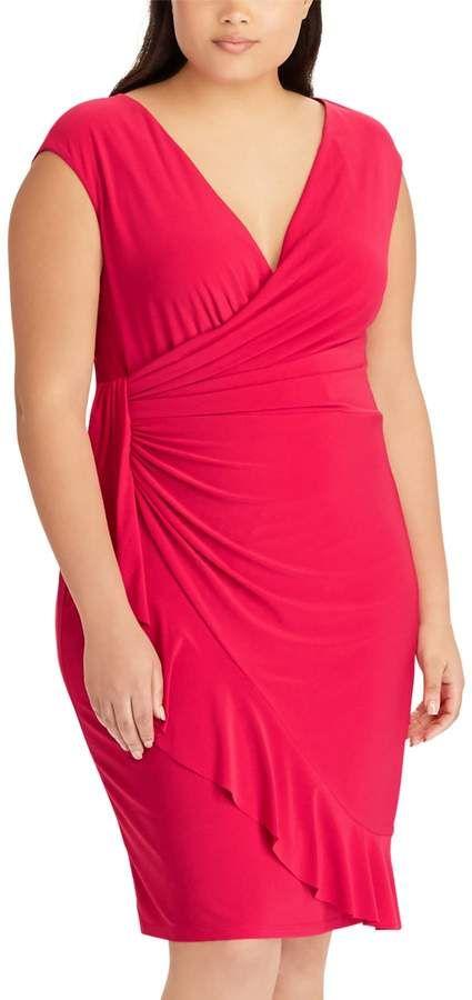 e73a424a48 Chaps Plus Size Ruffled Faux-Wrap Dress