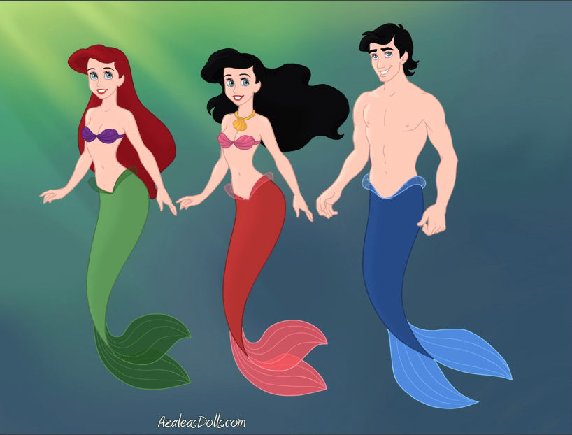 Melody and her Mother and Father Ariel the Mermaid and Eric the