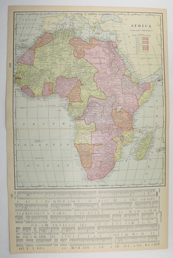 1902 Vintage Map Africa, New Zealand Map, African Decor Art Map - new world map of africa